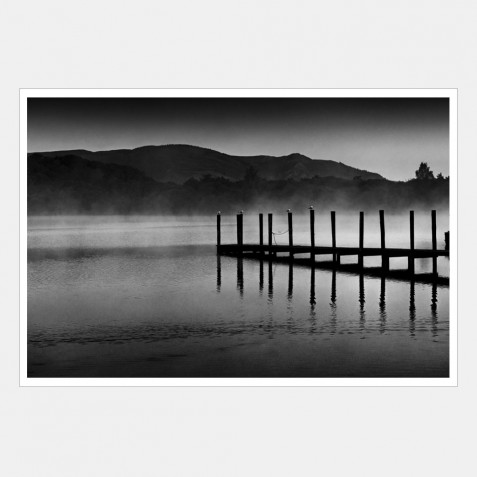 Seagulls Perched on a Jetty on Derwentwater, Lake District, Cumbria