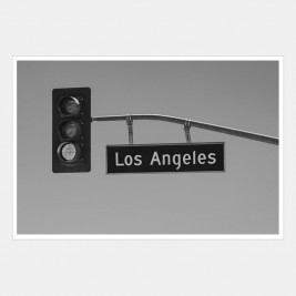 Los Angeles overhead traffic lights and sign, California, USA