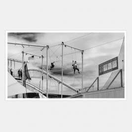 Trapeze school on Santa Monica pier, California, USA