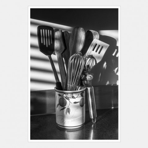 Kitchen utensils in early morning light